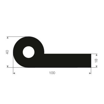 Polson Technisch Rubber - Rubber P-profilel 100x40 mm